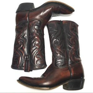 ACME Shoes - Acme Oxblood red black leather USA cowboy boots